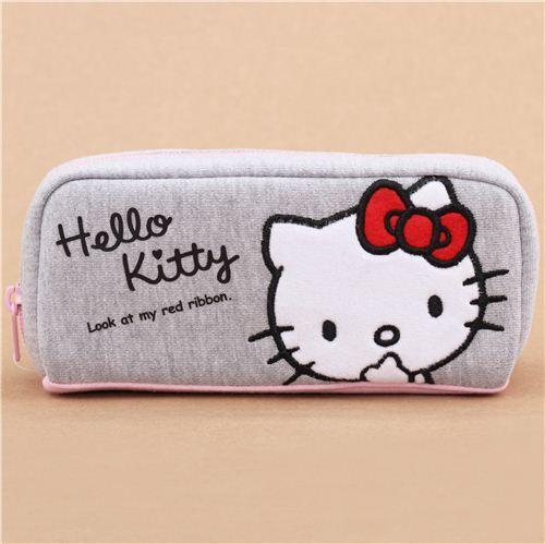 91c520a9e2e grey Hello Kitty pencil case by Kamio from Japan - modeS4u Kawaii Shop