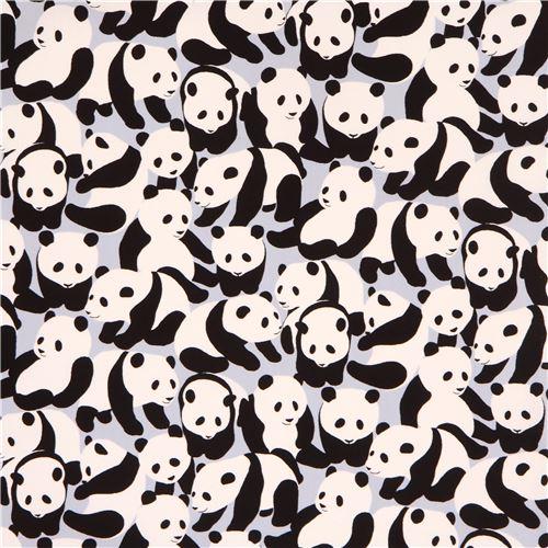 Grey Oxford Fabric Cute Panda Bear From Japan Animal