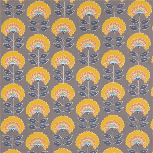 grey Oxford fabric yellow flower navy blue leaf from Japan - Flower ...