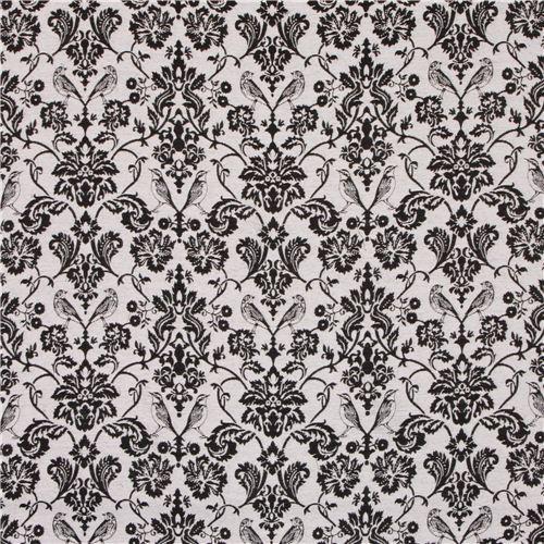 grau schwarzer blumen ornament vogel jacquard echino stoff echino stoffe stoffe kawaii. Black Bedroom Furniture Sets. Home Design Ideas