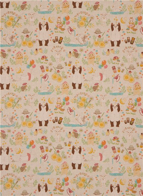 greybrown canvas fabric cute animal party from japan 2