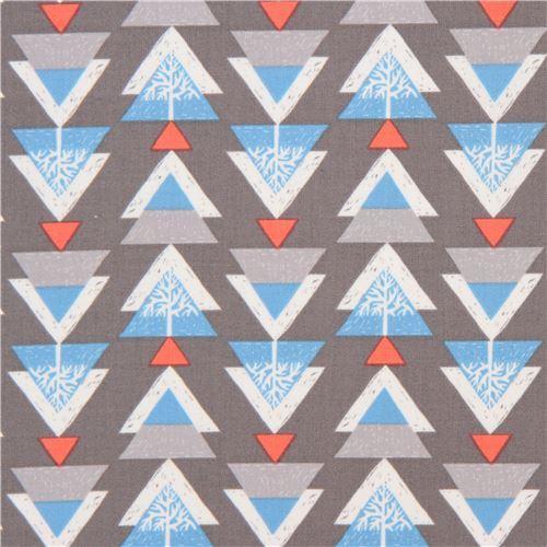 Grey Fabric Light Blue Red Triangle Christmas Tree By Dear Stella Usa 2