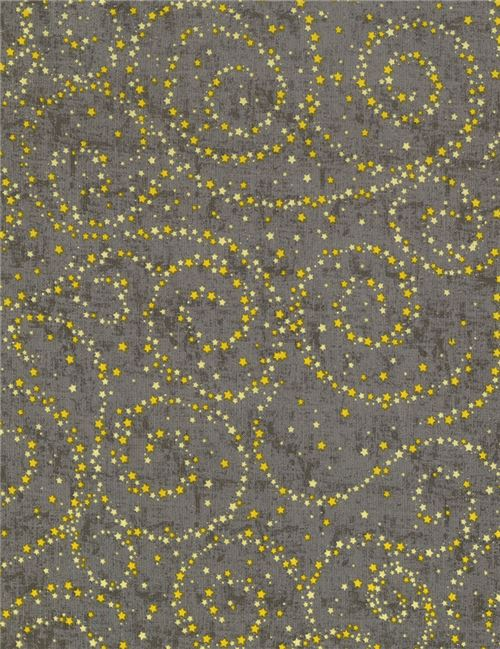 grey fabric with mini yellow star by Timeless Treasures - Dots ...