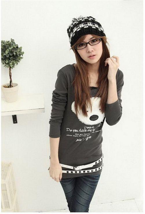 Grey Teddy Bear Long Shirt Sweater Japan Cute Kawaii Sweaters Hoodies Clothes Kawaii Shop