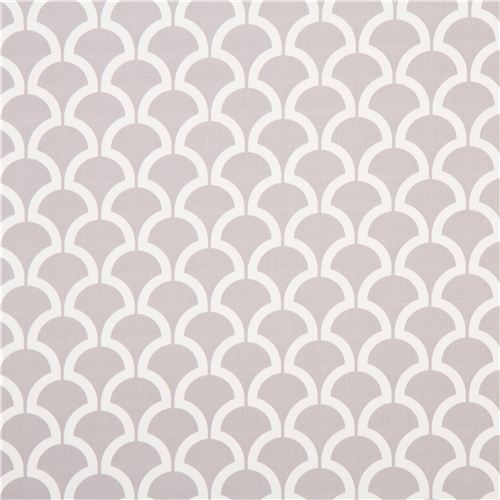 Grey Wave Pattern Cotton Sateen Fabric Michael Miller