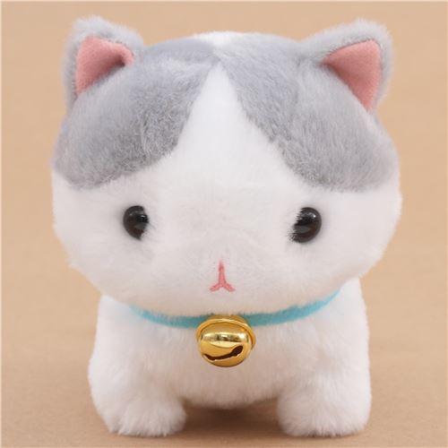 Grey White Cute Cat Blue Collar With Bell Plush Toy Yappari Munchkin