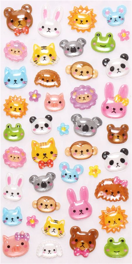 Hard 3d stickers with funny animals from japan sticker for Stickers 3d pared