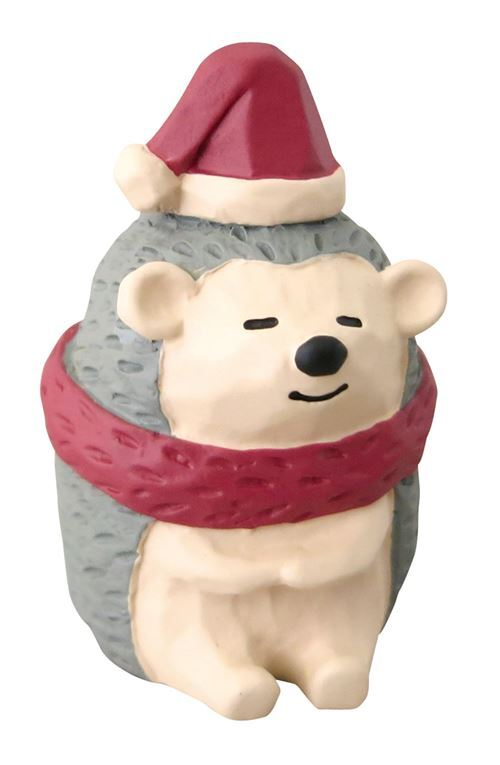 116da7a415601 hedgehog with Santa hat red scarf Christmas figurine Japan - modeS4u