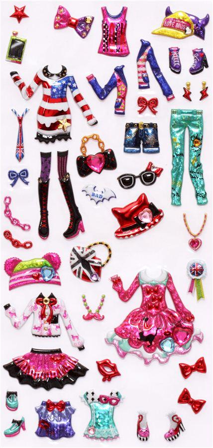 Hipster Dresses Girls Dress Up Doll 3D Stickers Cute