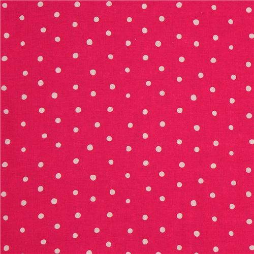 Hot Pink Linen Fabric Light Grey Dot From Japan Modes4u