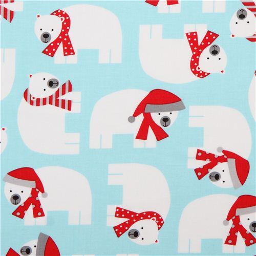 ice blue Christmas fabric with polar bears Jingle Aqua by Robert ...