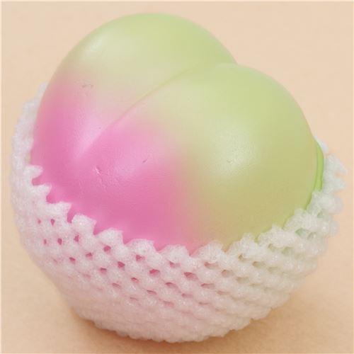 jumbo green-pink peach fruit squishy by Hayaru Shop - Food Squishy - Squishies - Kawaii Shop modeS4u