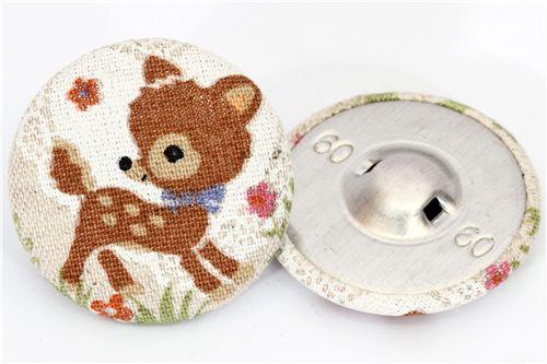 kawaii Bambi Leinen Stoffknopf japanischer Knopf - Knöpfe - Hobby ...