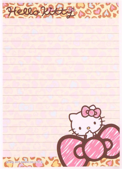 kawaii hello kitty leopard print memo pad from japan