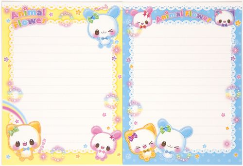 kawaii Letter Paper set with rabbit cat rainbow - Letter