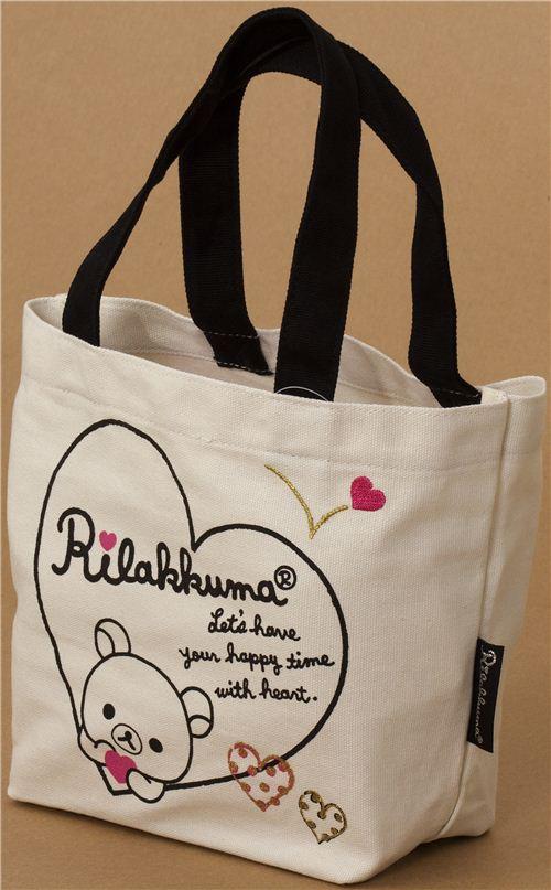 Borse Bear Bag : Kawaii rilakkuma canvas linen handbag with bear and heart