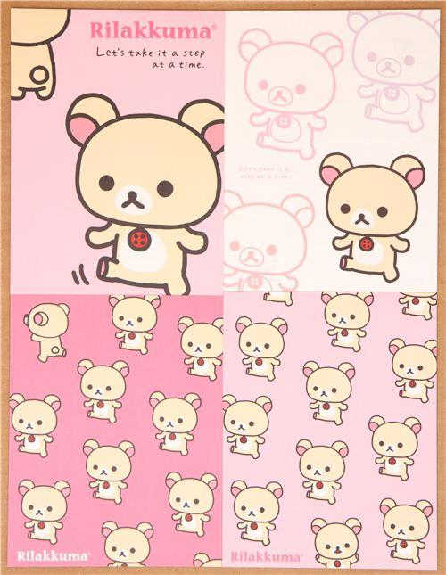 kawaii Rilakkuma white bear letter paper set du Japon3