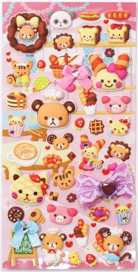 kawaii animal pastry sponge stickers from Japan