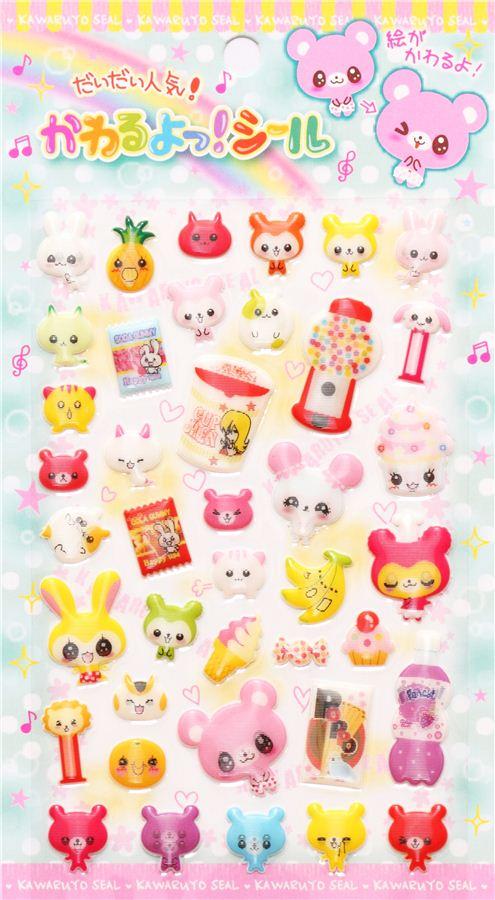 Pegatinas 3d imagen lenticular animal kawaii comida for Pegatinas de pared infantiles