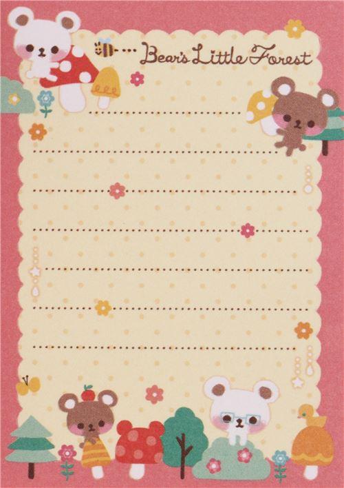 kawaii bear and forest mini memo pad memo pads stationery