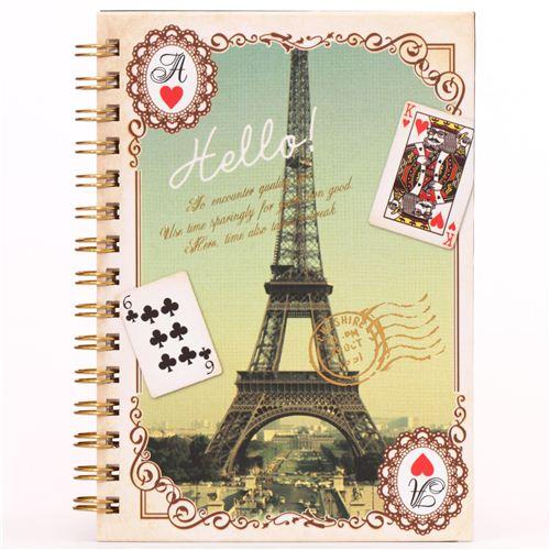 Kawaii Beige Eiffel Tower Stamp Paris Ring Binder Notebook