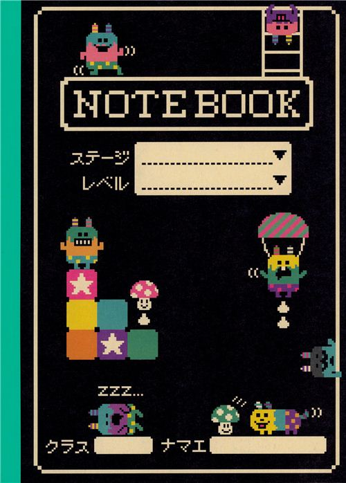 Cuaderno Ejercicios Libreta Kawaii Negra Personajes Juego Pc Blocs