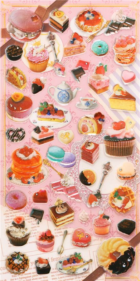 Kawaii cake pastry stickers by kamio 4