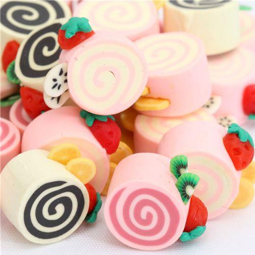 kawaii cake roll cute miniature deco 3pcs - Miniature ...