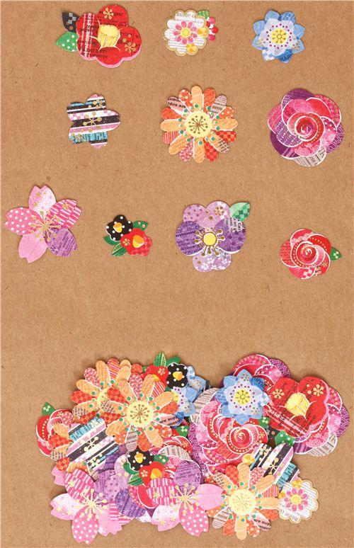 Kawaii sacchetto adesivi fiori colorati stilizzati for Fiori stilizzati colorati