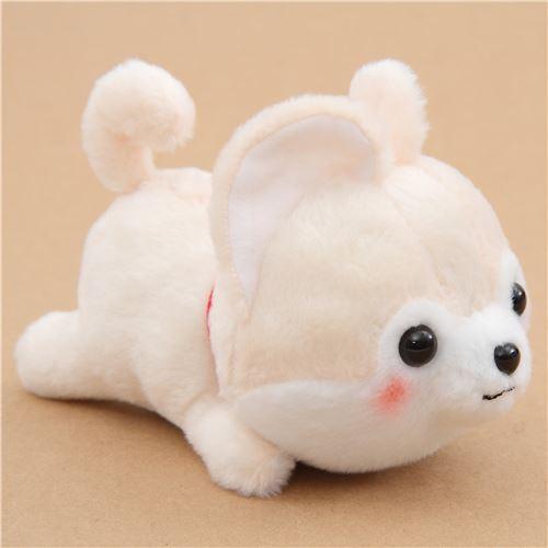 Kawaii Cream Dog Red Scarf Mameshiba San Kyodai Plush Toy