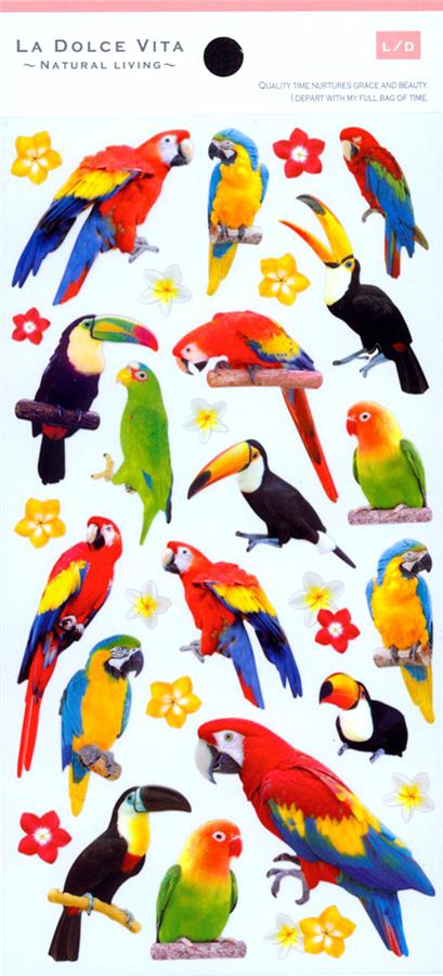 Kawaii cute animals bird flower stickers by mind wave 2
