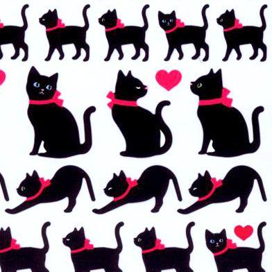 Pegatinas kawaii de animales con gatos negros de q lia - Pegatinas para la pared ...