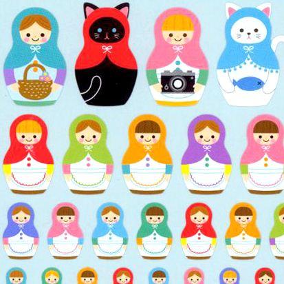 Kawaii Animal Matryoshka Doll Cat Stickers By Q Lia
