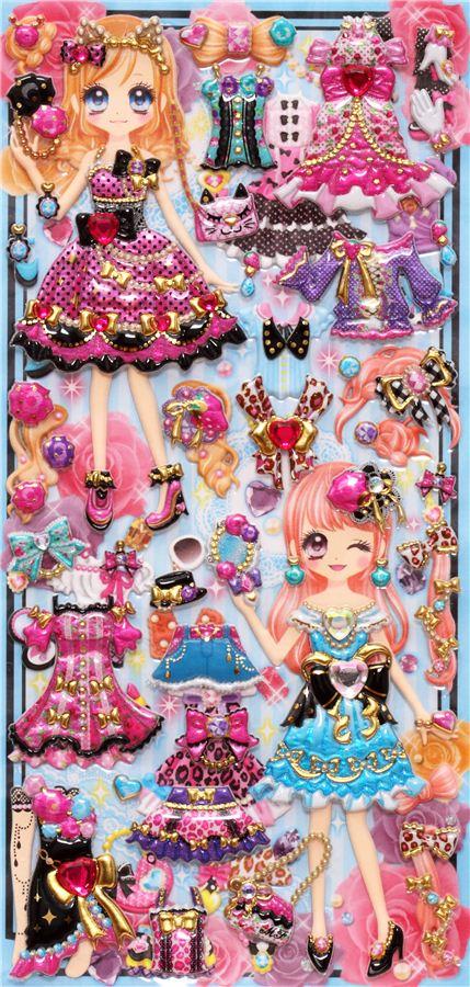 Kawaii Dresses Girls Dress Up Doll 3d Stickers Cute