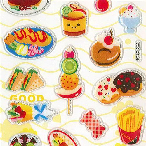 Kawaii food sticker cute kawaii glitter 1