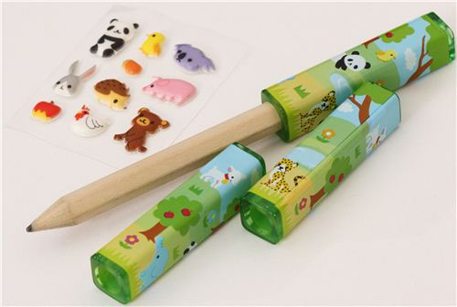 Kawaii Forest Animals Pencil Caps With Stickers Pens