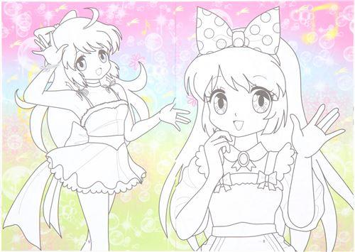 Dibujo Para Colorear Libreta: Libreta Con Dibujos De Niñas Kawaii Para Colorear De