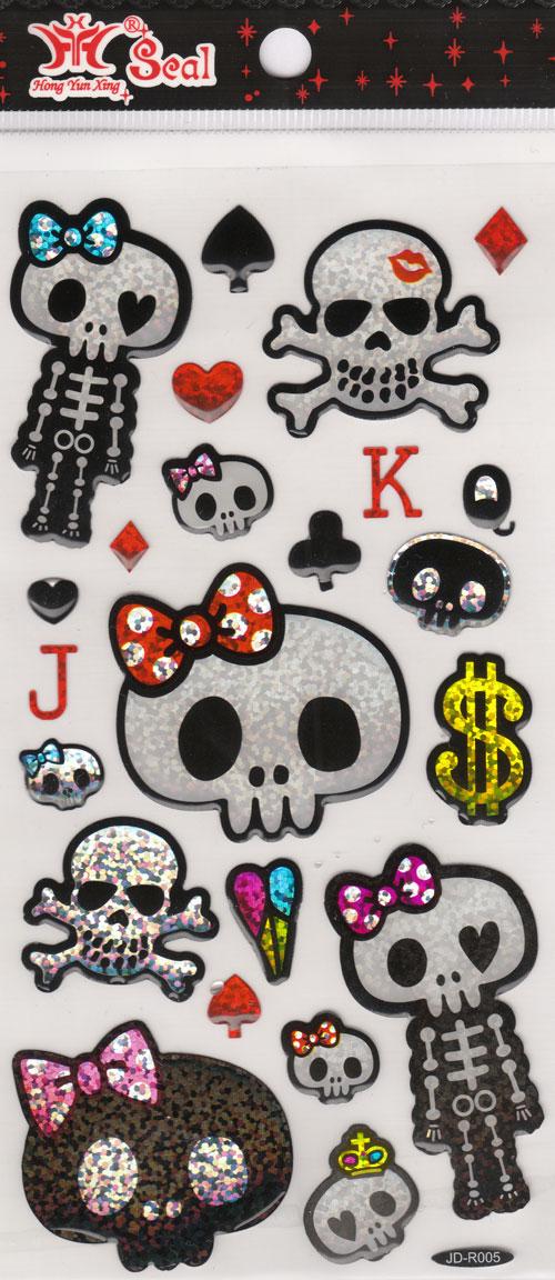 Sticker Girly Skull Poker Sticker Sheets Sticker