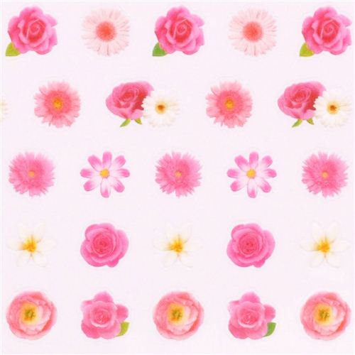 Kawaii pink flower rose stickers by mind wave 1