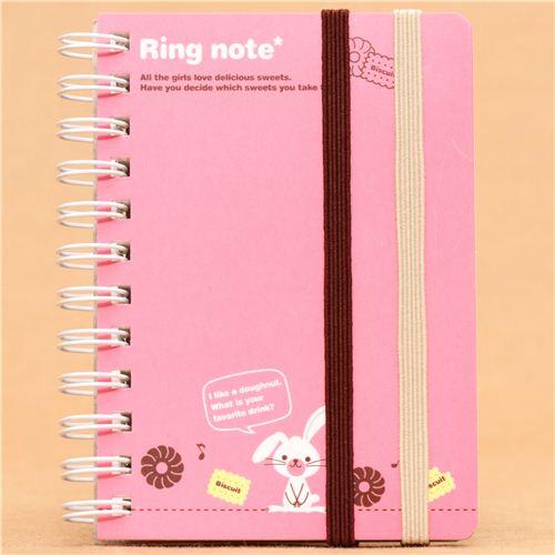 Kawaii Pink Rabbit Mini Ring Binder Notebook From Japan