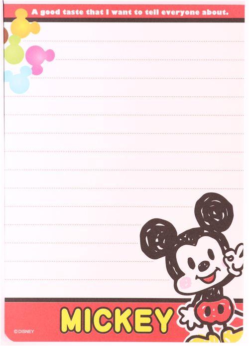 Kawaii Red Disney Mickey Mouse Memo Pad Sweets Memo Pads