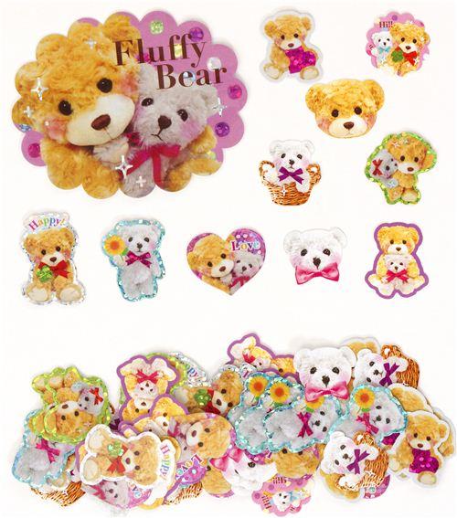 kawaii teddy bear glitter sticker sack from japan sticker flakes