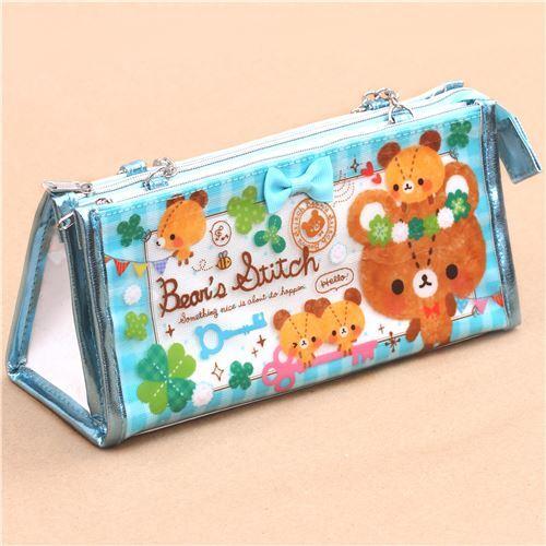 Kawaii Turquoise White Cute Bear Clover Pouch Pencil Case