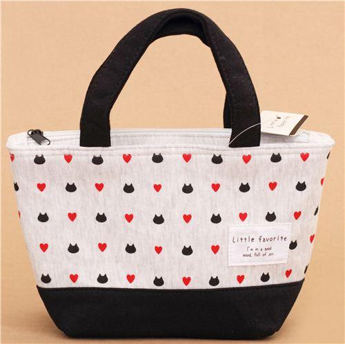 sac d jeuner japonais kawaii blanc et gris avec des t tes de chats et des coeurs sacs. Black Bedroom Furniture Sets. Home Design Ideas