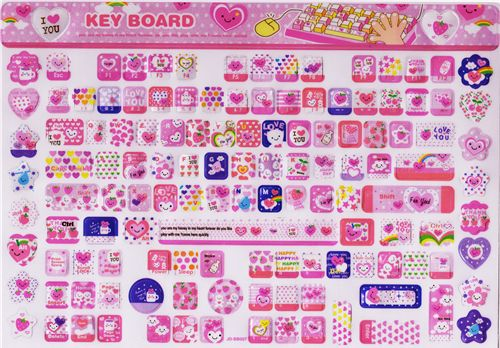 kawaii pinke tastatur sticker aufkleber keyboard sticker adesivi cancelleria negozio. Black Bedroom Furniture Sets. Home Design Ideas