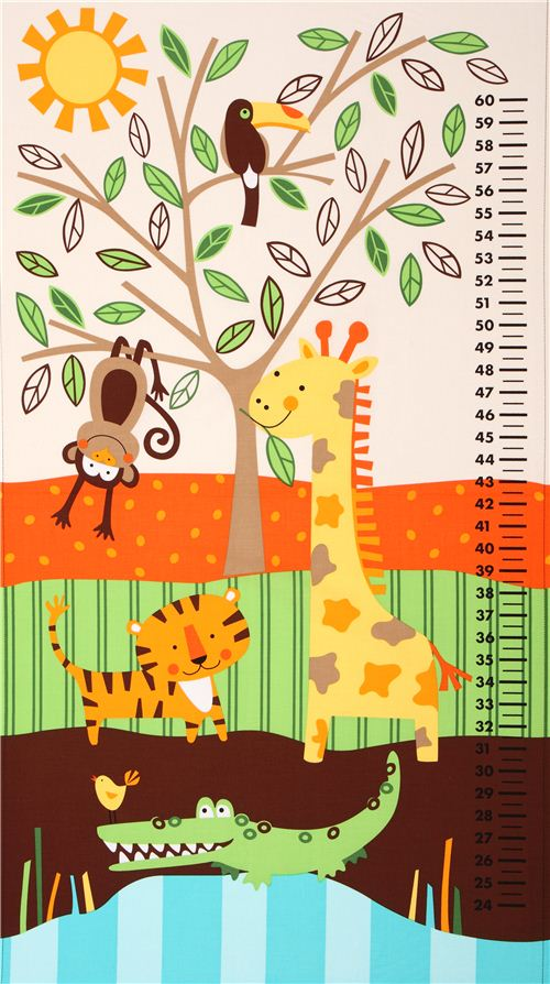 Kids Growth Chart Jungle Animal Fabric Timeless Treasures Animal