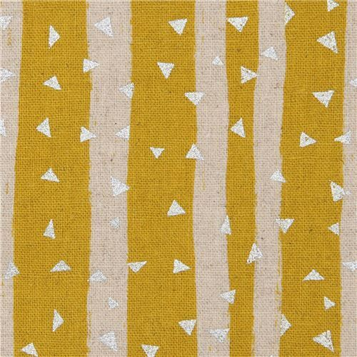 laminate canvas fabric by echino with stripes in mustard yellow