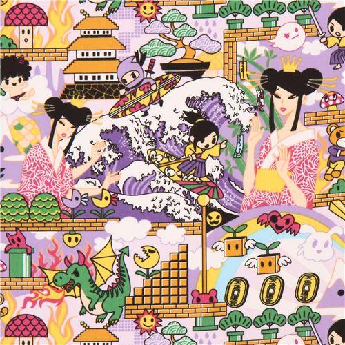 Lavender Japanese Anime Manga Character Animal Fabric 1