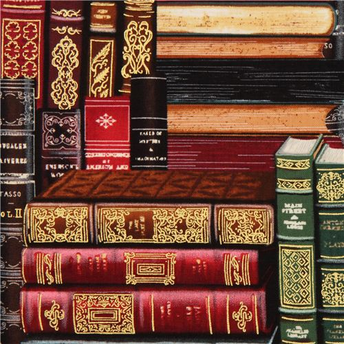 library books fabric by Timeless Treasures USA - Retro ...