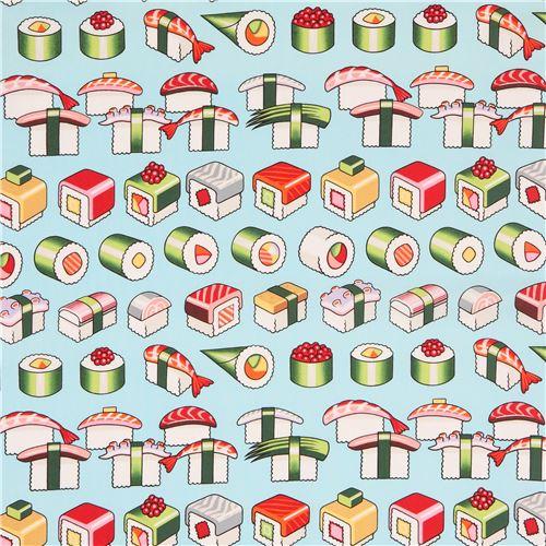 hellblauer alexander henry stoff buntes sushi essen please enjoy essen stoffe stoffe. Black Bedroom Furniture Sets. Home Design Ideas